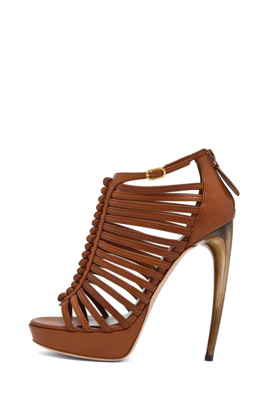 Image 1 of Alexander McQueen Strappy Sandal w/ Bone Heel in Hazelnut