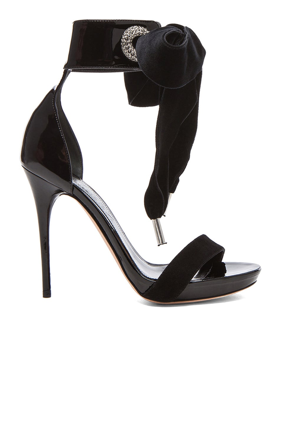 Image 1 of Alexander McQueen Diamante Eyelet Leather Sandals in Black