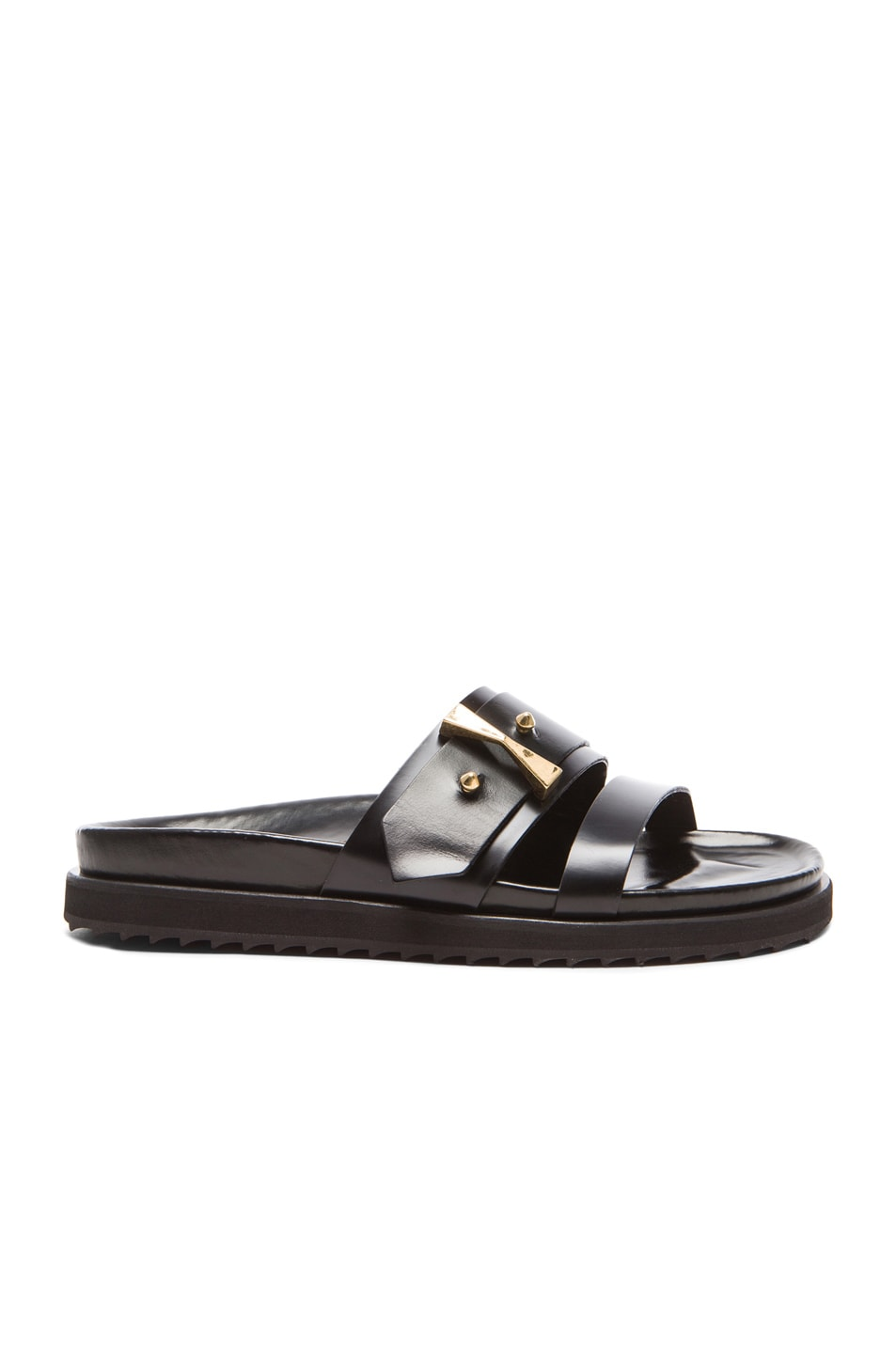 Image 1 of Alexander McQueen Flat Belted Leather Sandals in Black