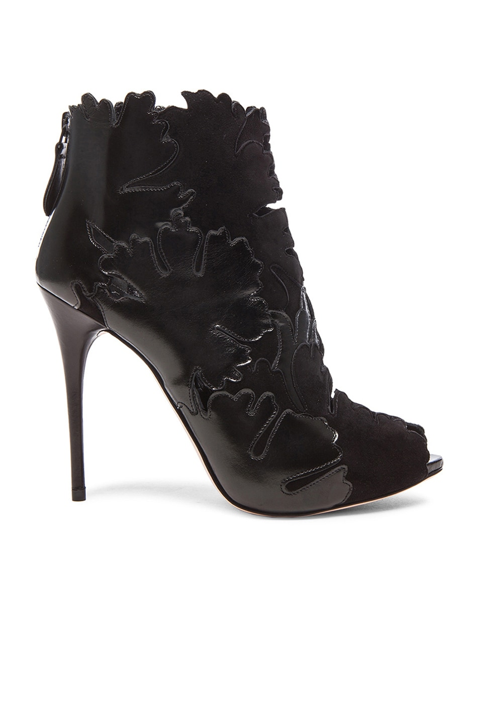 Image 1 of Alexander McQueen Leaf Suede Booties in Black