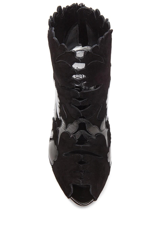 Image 4 of Alexander McQueen Leaf Suede Booties in Black