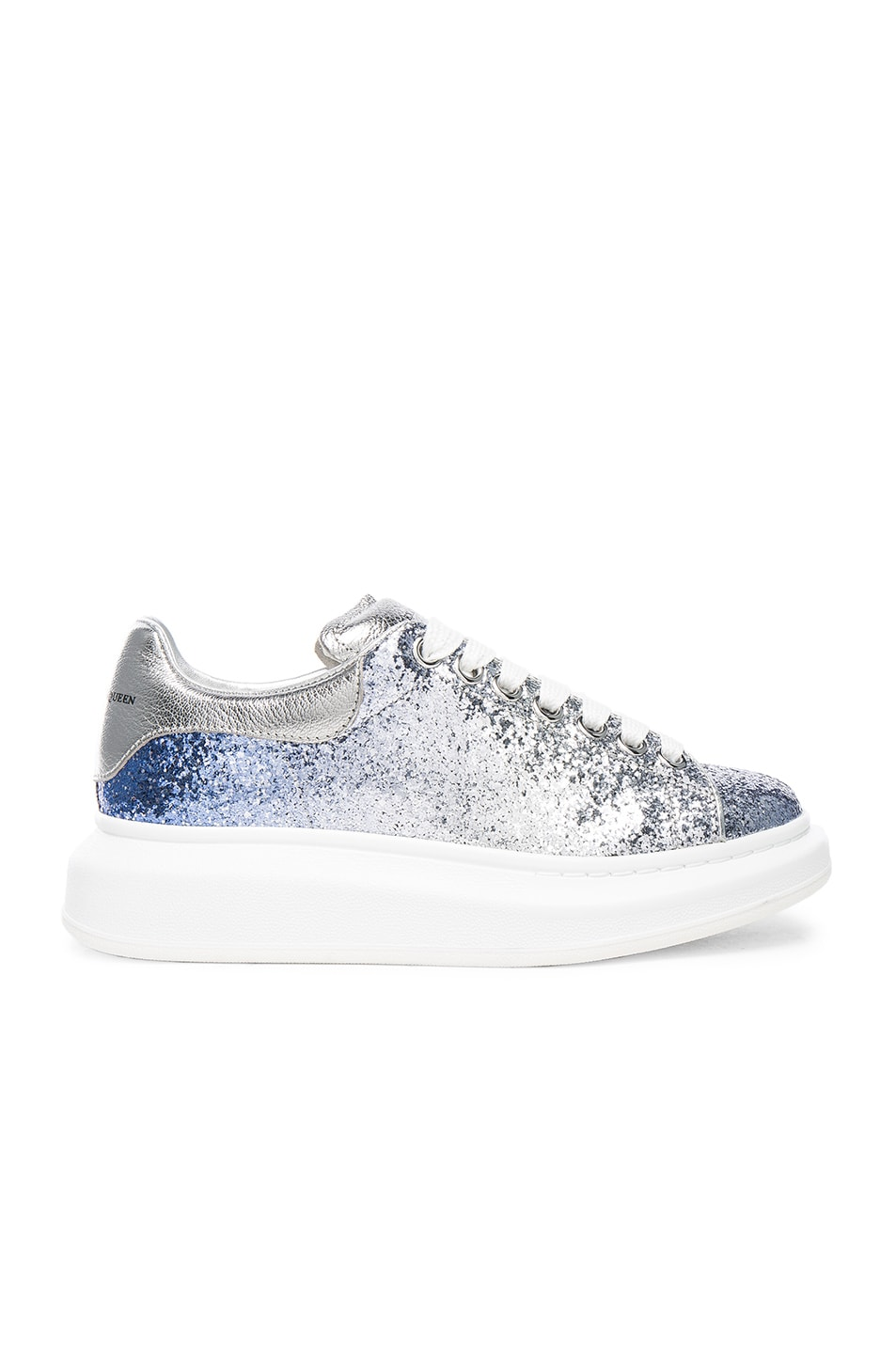 5007913fd984 Image 1 of Alexander McQueen Glitter Platform Lace Up Sneakers in Blue    Silver