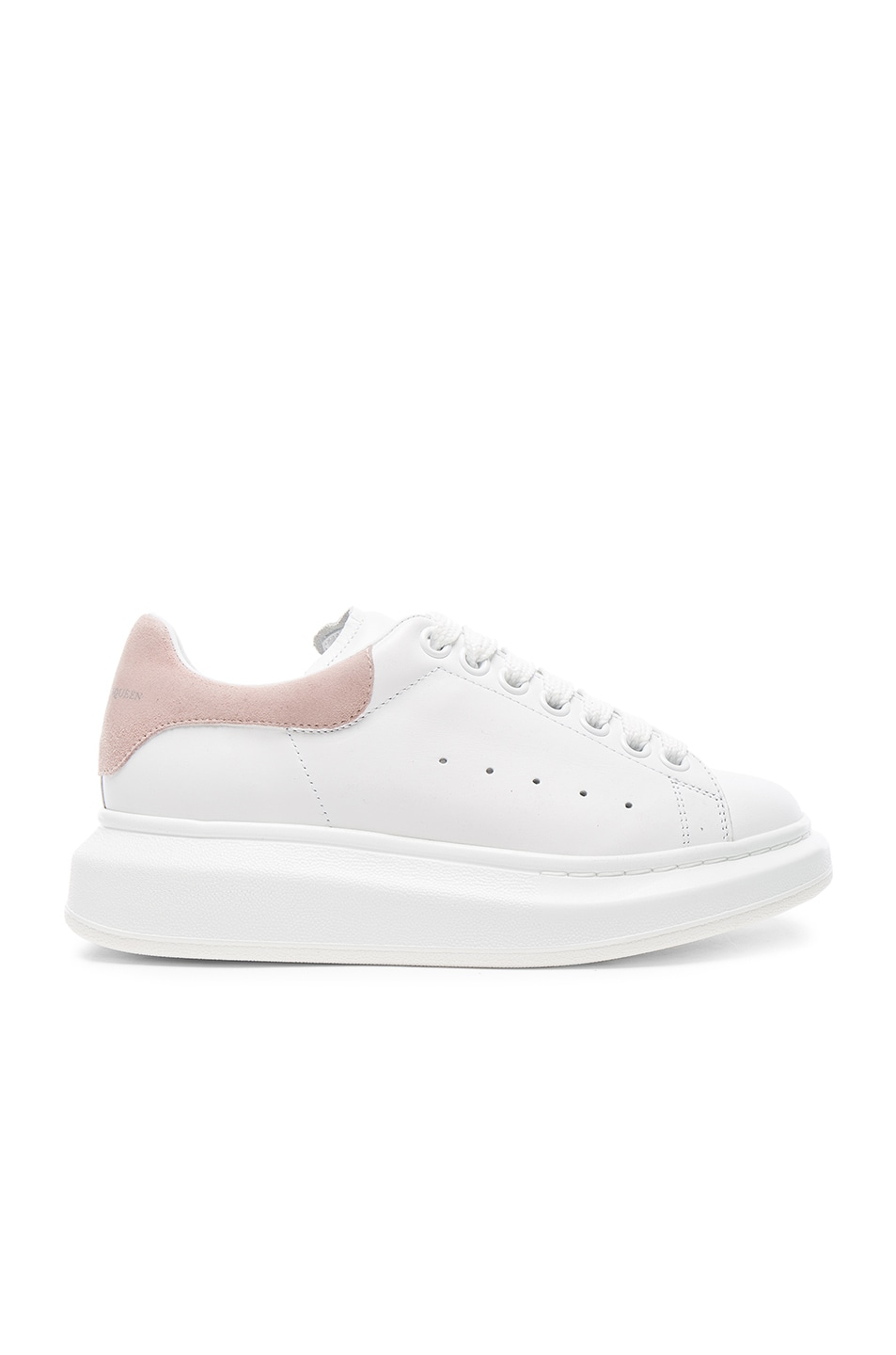 Image 1 of Alexander McQueen Platform Lace Up Sneakers in White & Patchouli
