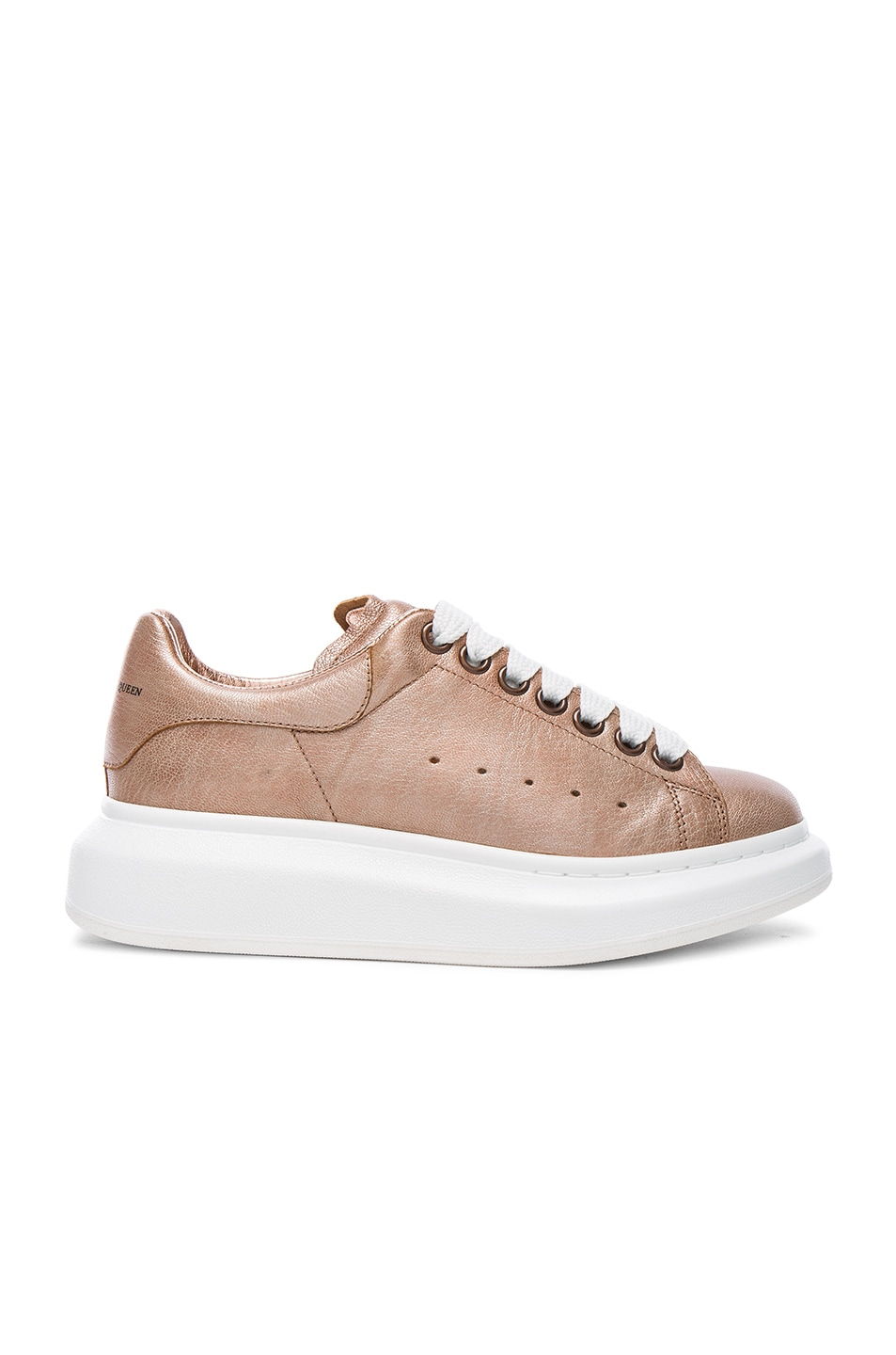 Image 1 of Alexander McQueen Platform Lace Up Leather Sneakers in Copper