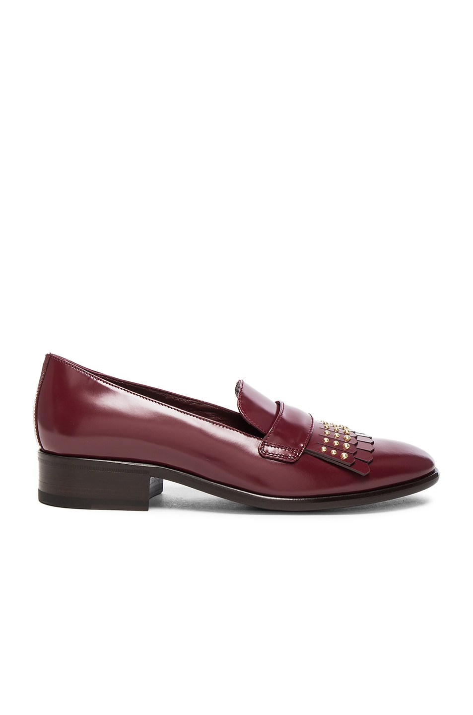 Image 1 of Alexander McQueen Stud Fringe Leather Loafers in Light Oxblood