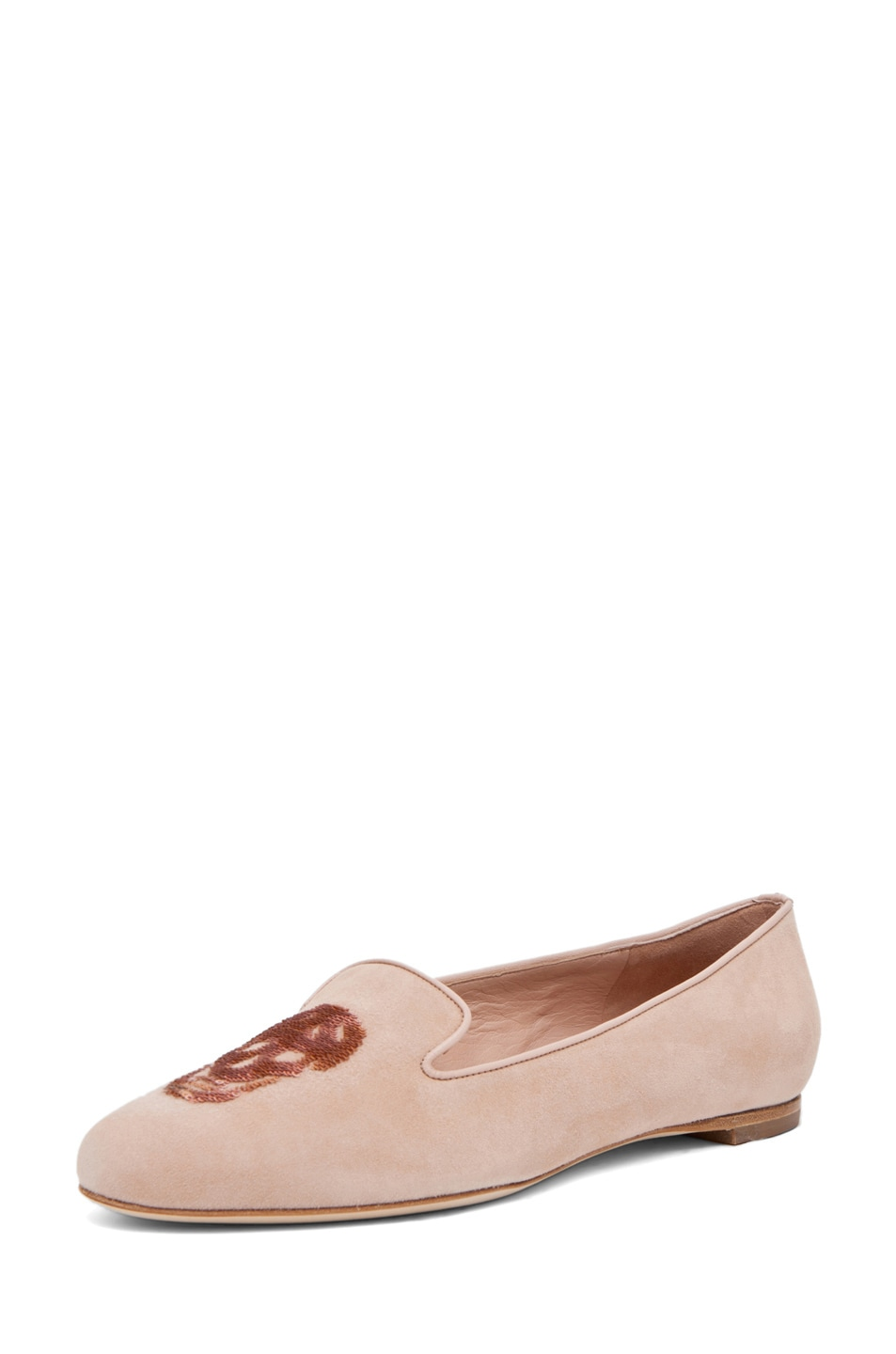 Image 2 of Alexander McQueen Skull Suede Slippers in Pale Pink & Rose
