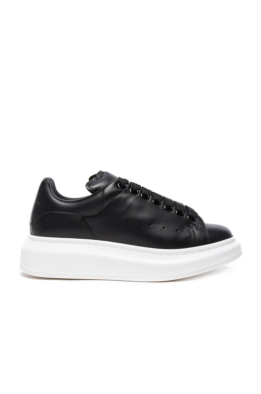 Image 1 of Alexander McQueen Leather Platform Sneakers in Black