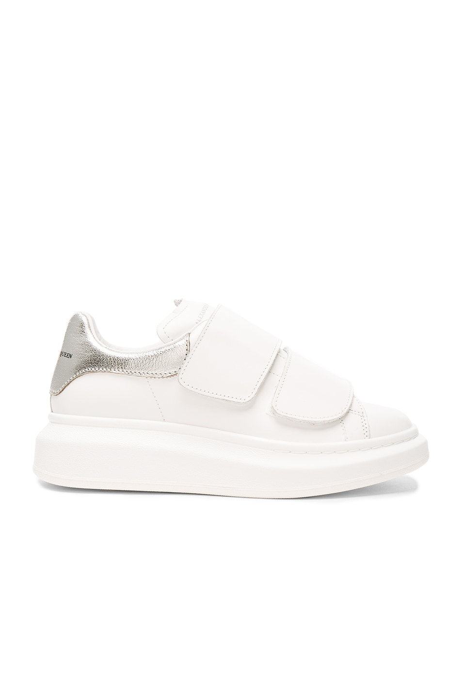 49940773b16f Image 1 of Alexander McQueen Leather Velcro Platform Sneakers in White    Silver