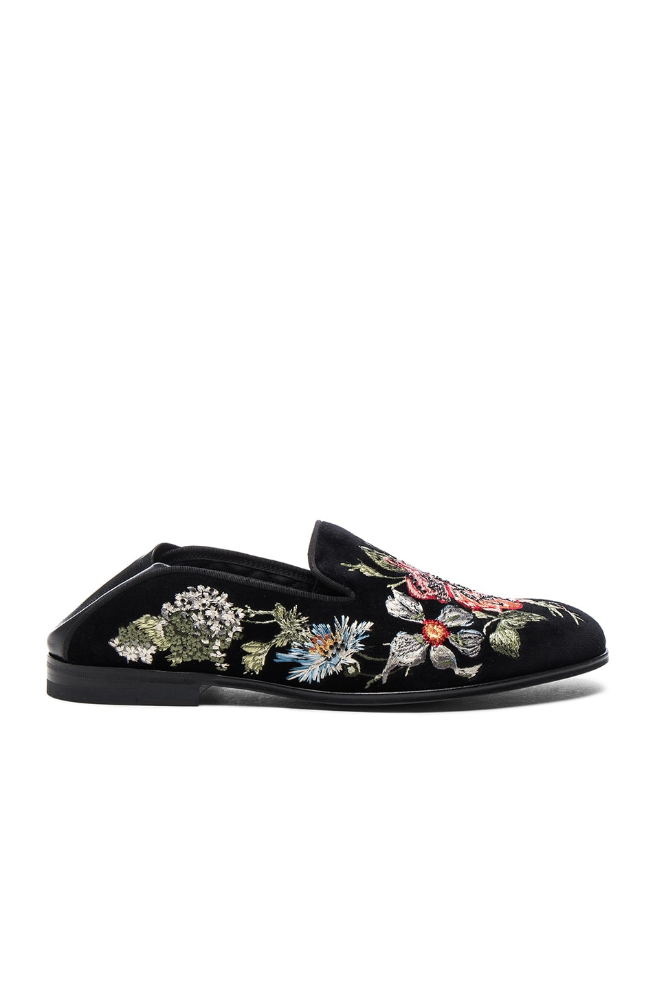 Alexander McQueen Embroidered Velvet Loafers
