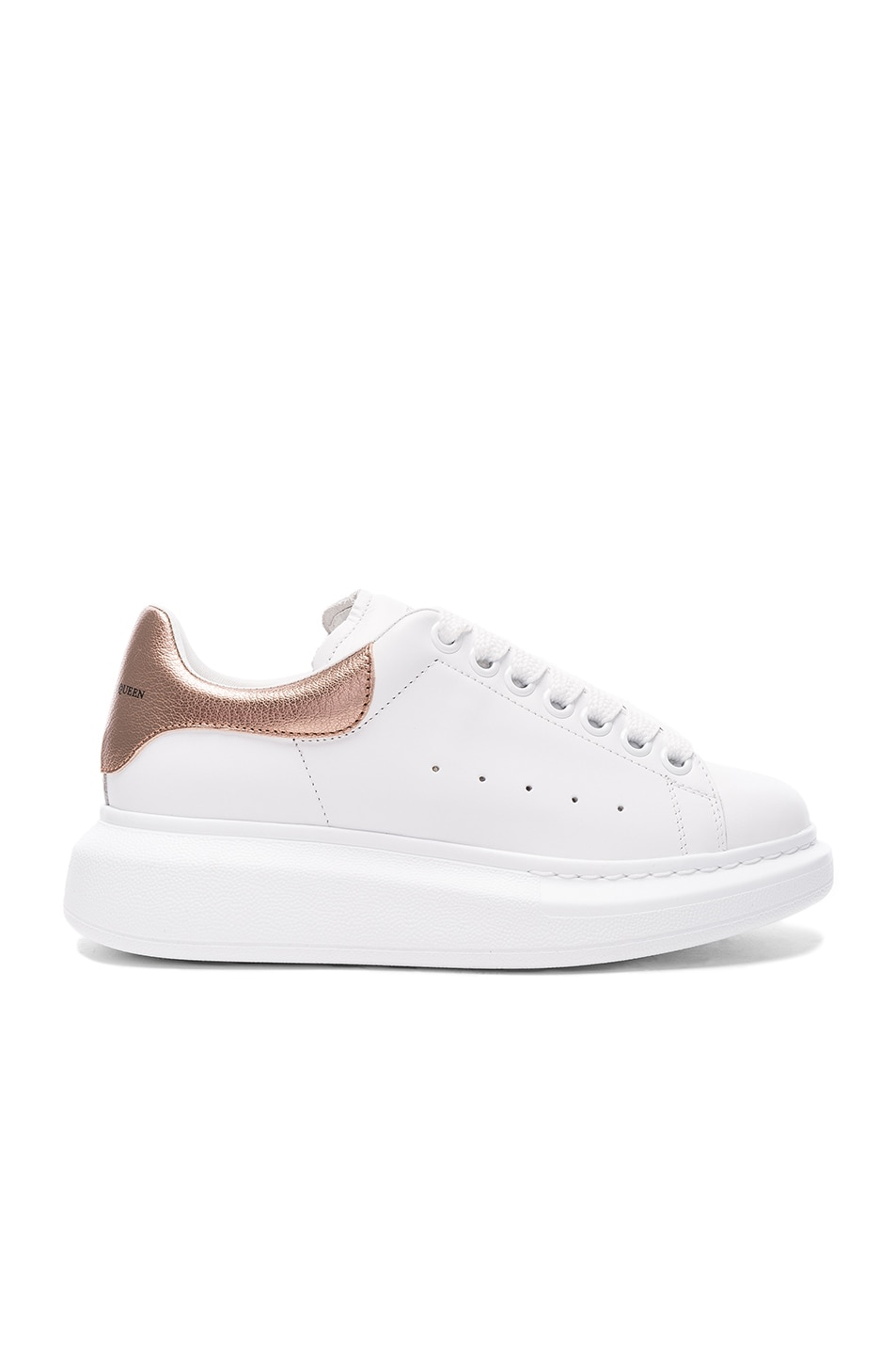 Image 1 of Alexander McQueen Leather Platform Sneakers in White & Rose Gold