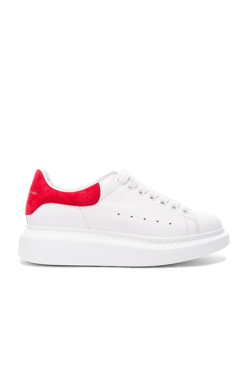 Image 1 of Alexander McQueen Leather Platform Sneakers in White & Crimson