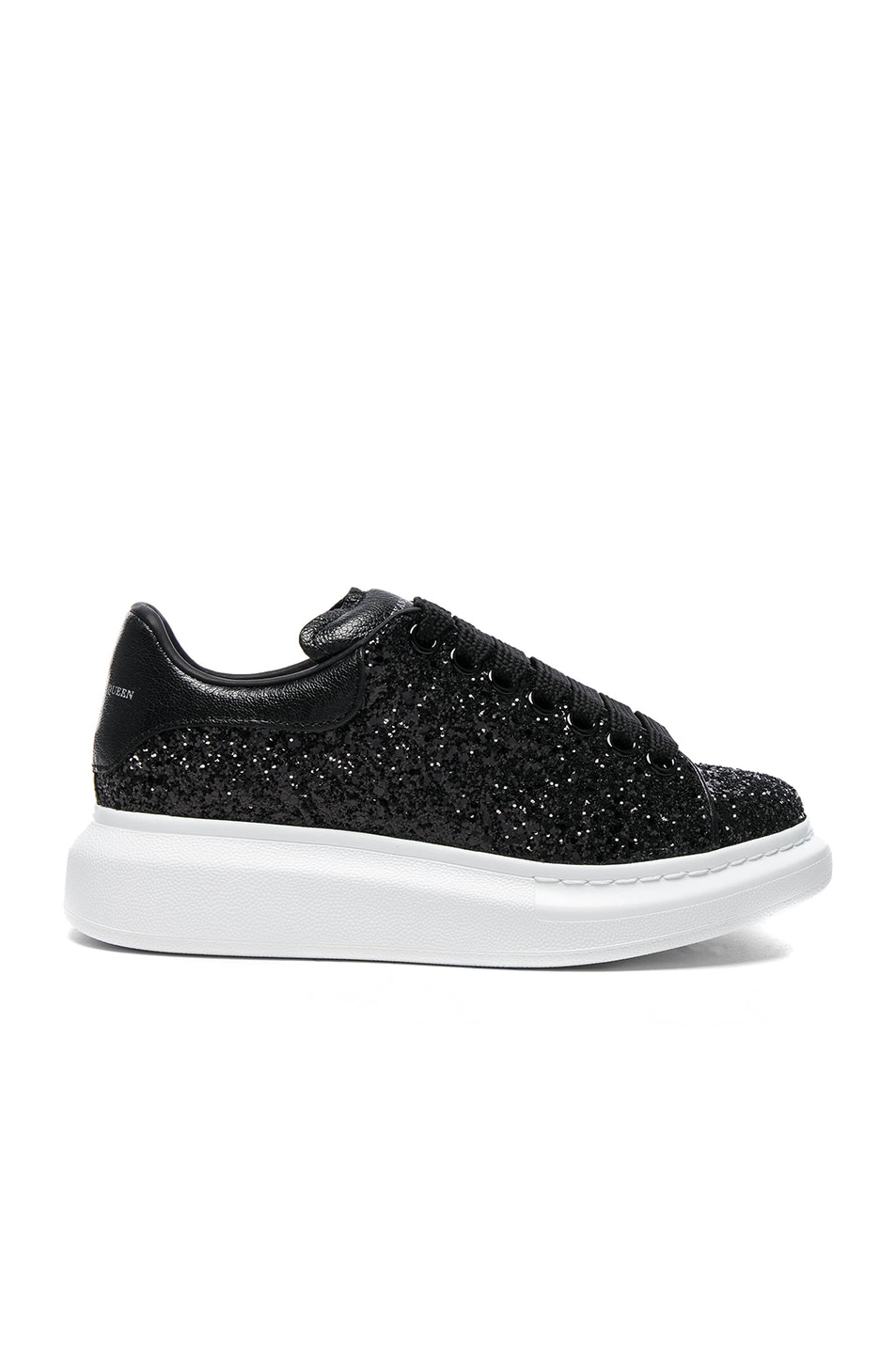Image 1 of Alexander McQueen Platform Lace Up Sneakers in Black & Black