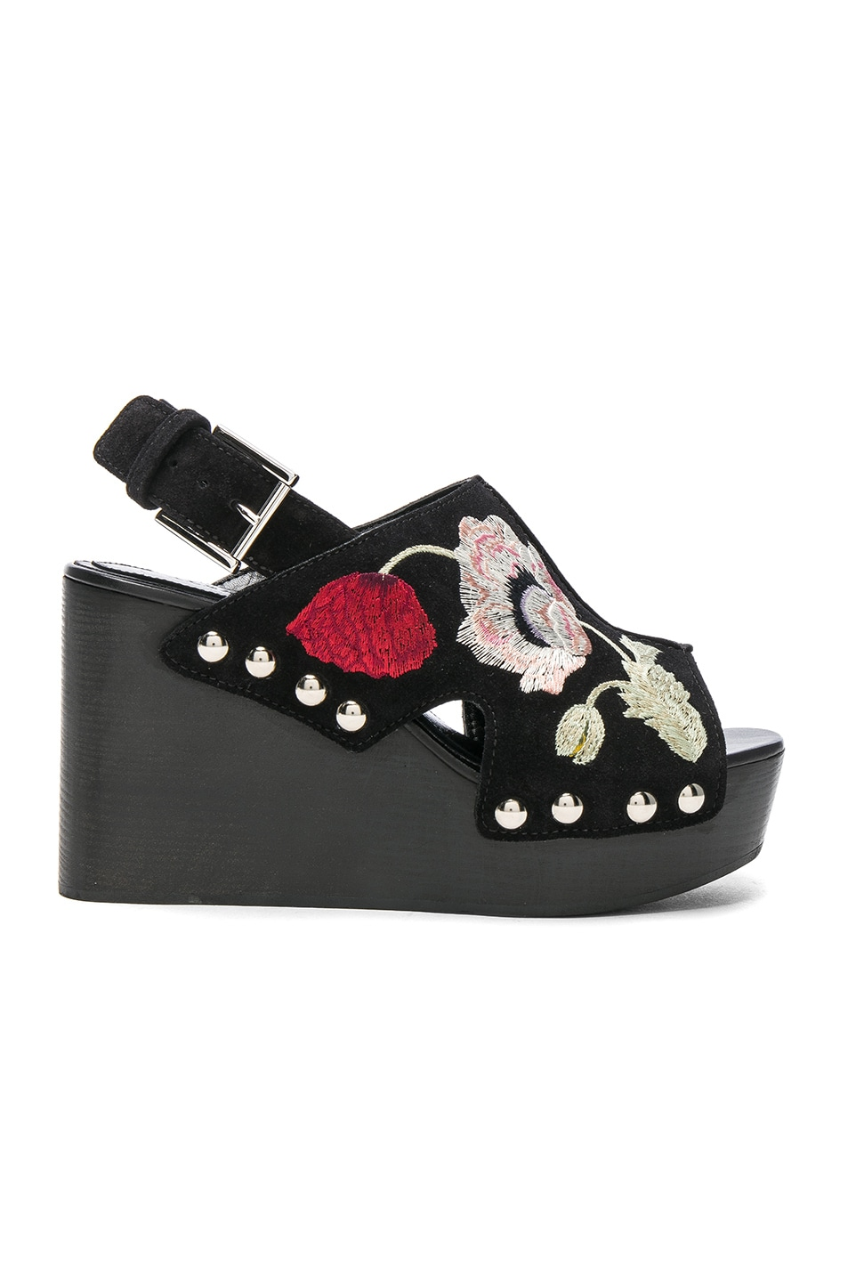 Image 1 of Alexander McQueen Suede Wedges in Black & Multi Cocktail