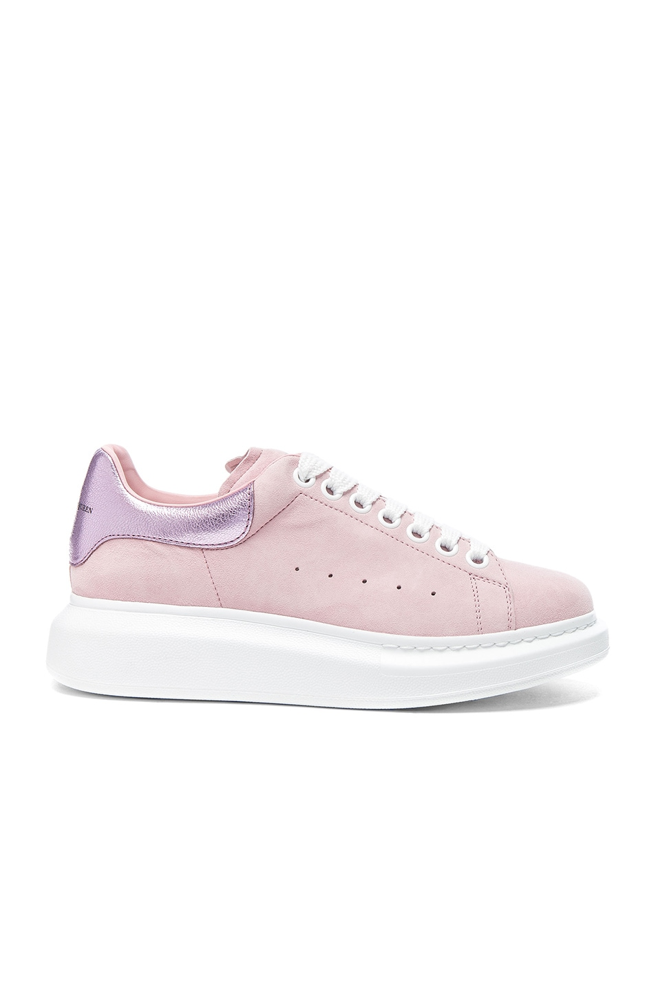 Image 1 of Alexander McQueen Suede Platform Lace Up Sneakers in Clover & Pale Pink