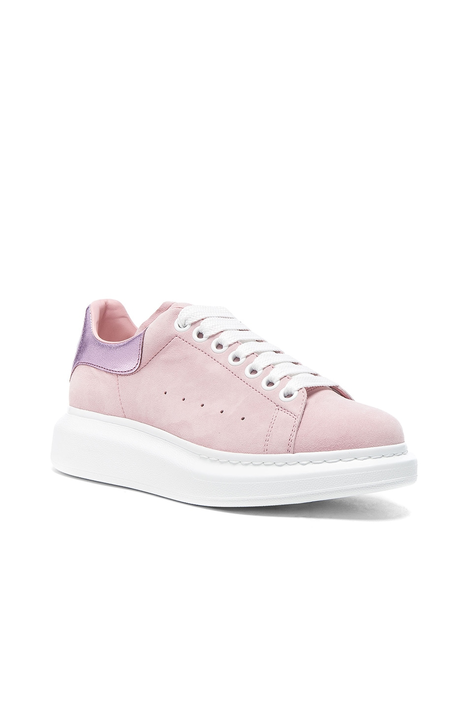 Image 2 of Alexander McQueen Suede Platform Lace Up Sneakers in Clover & Pale Pink