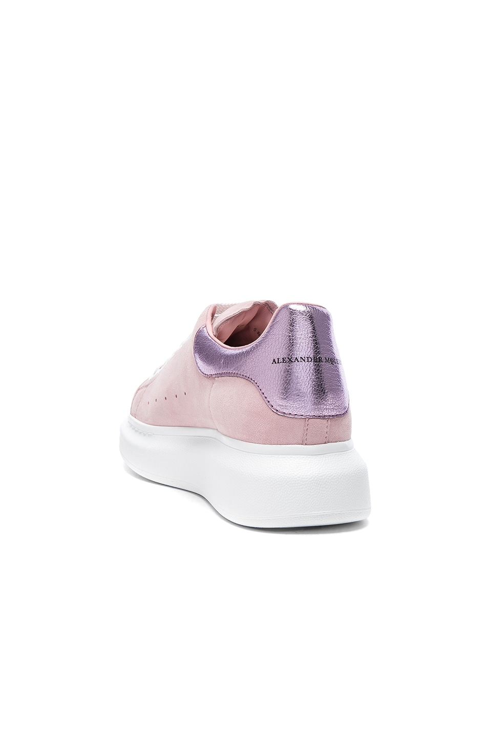 Image 3 of Alexander McQueen Suede Platform Lace Up Sneakers in Clover & Pale Pink