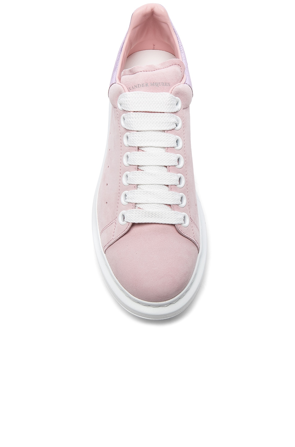 Image 4 of Alexander McQueen Suede Platform Lace Up Sneakers in Clover & Pale Pink