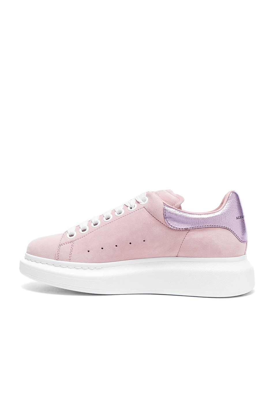 Image 5 of Alexander McQueen Suede Platform Lace Up Sneakers in Clover & Pale Pink