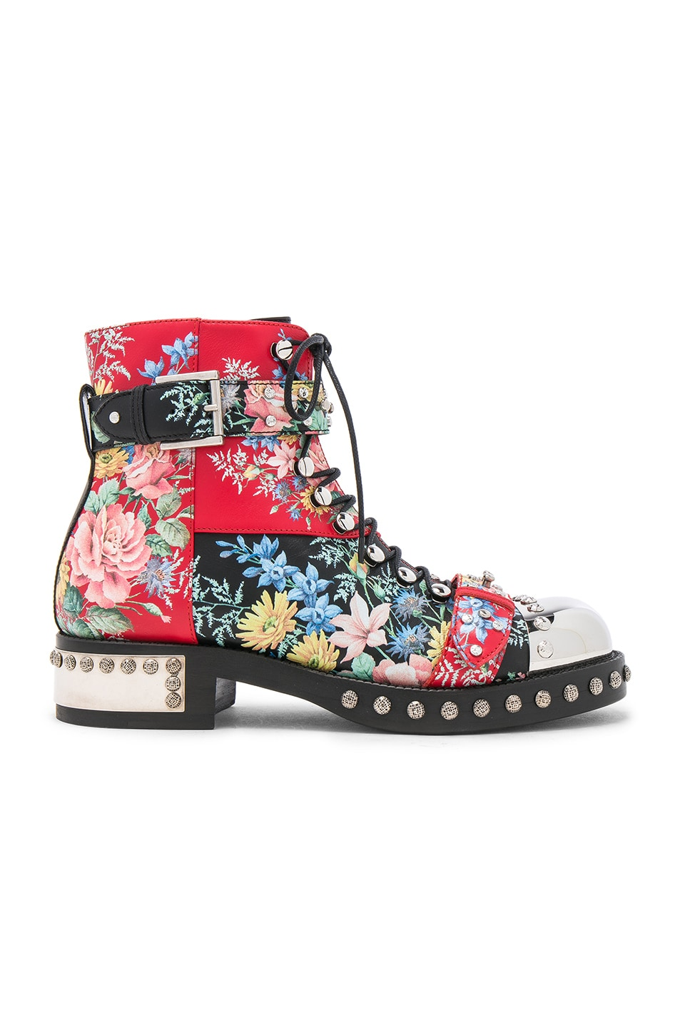 Image 1 of Alexander McQueen Studded Leather Combat Boots in Multi Cocktail