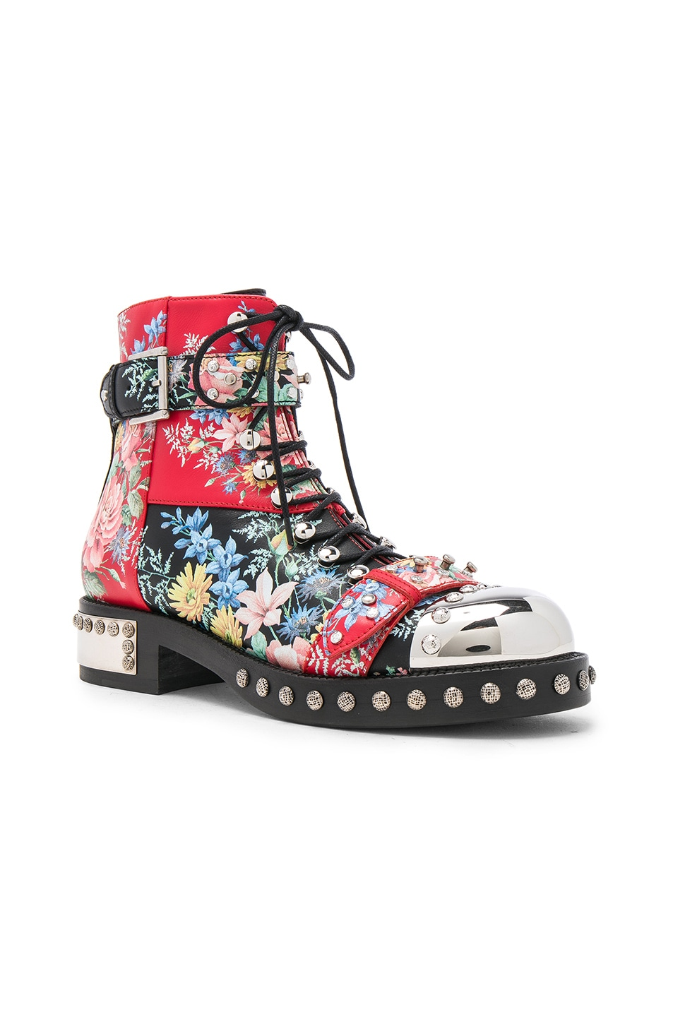 Image 2 of Alexander McQueen Studded Leather Combat Boots in Multi Cocktail