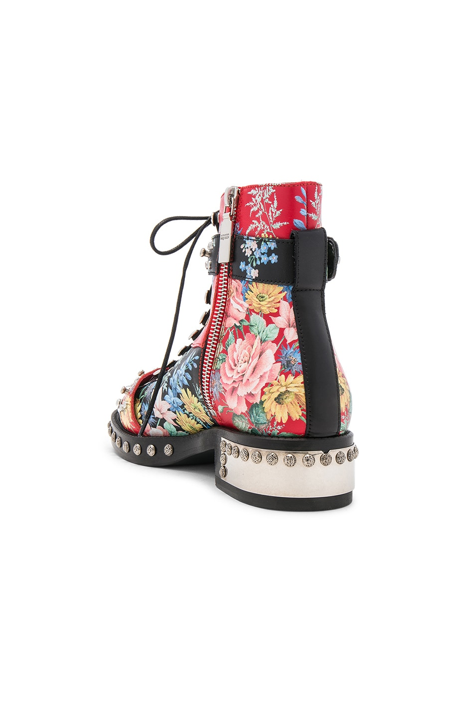 Image 3 of Alexander McQueen Studded Leather Combat Boots in Multi Cocktail