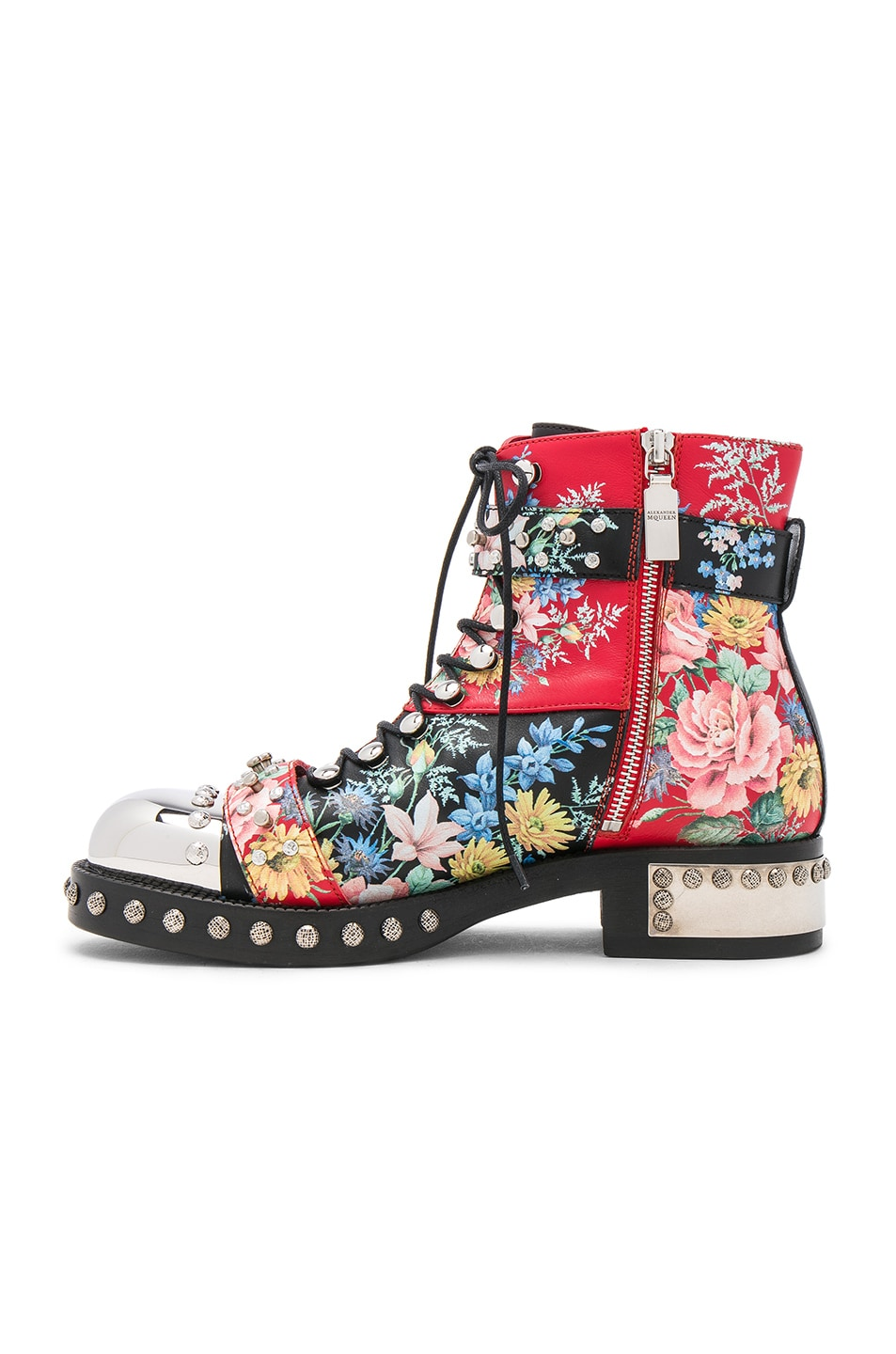 Image 5 of Alexander McQueen Studded Leather Combat Boots in Multi Cocktail