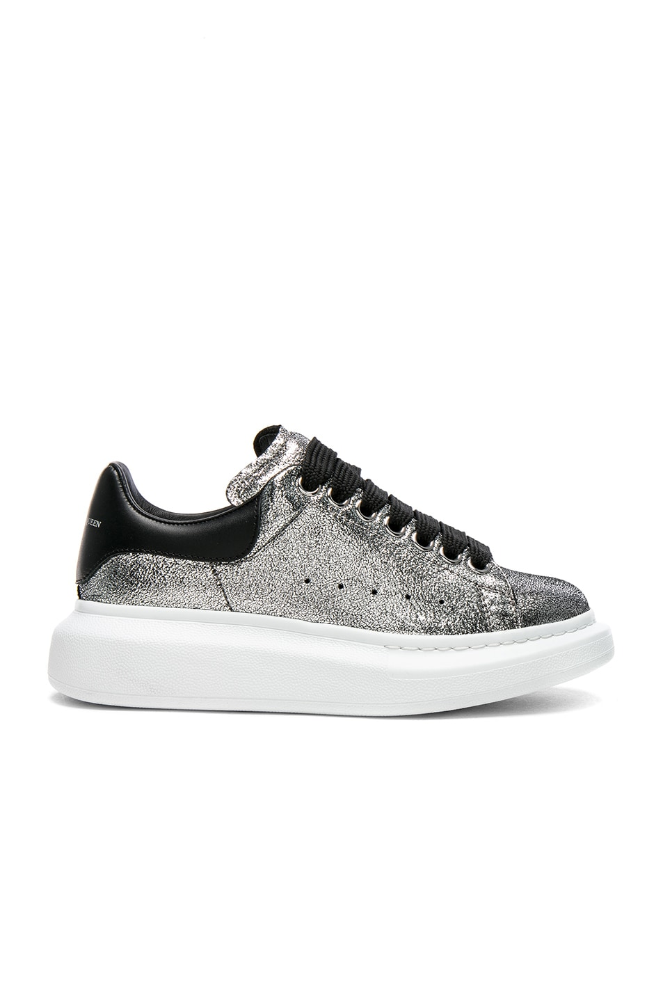 Image 1 of Alexander McQueen Platform Lace Up Sneakers in Silver & Black