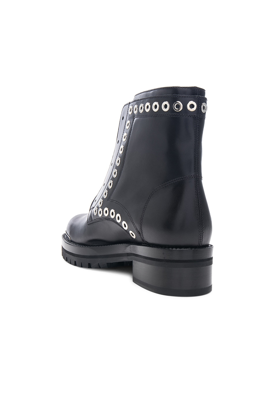 Image 3 of Alexander McQueen Eyelet Zip Up Leather Boots in Black