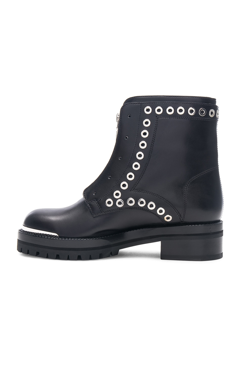 Image 5 of Alexander McQueen Eyelet Zip Up Leather Boots in Black