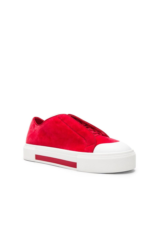 9df138fffe3 Image 2 of Alexander McQueen Velvet Platform Lace Up Sneakers in Red
