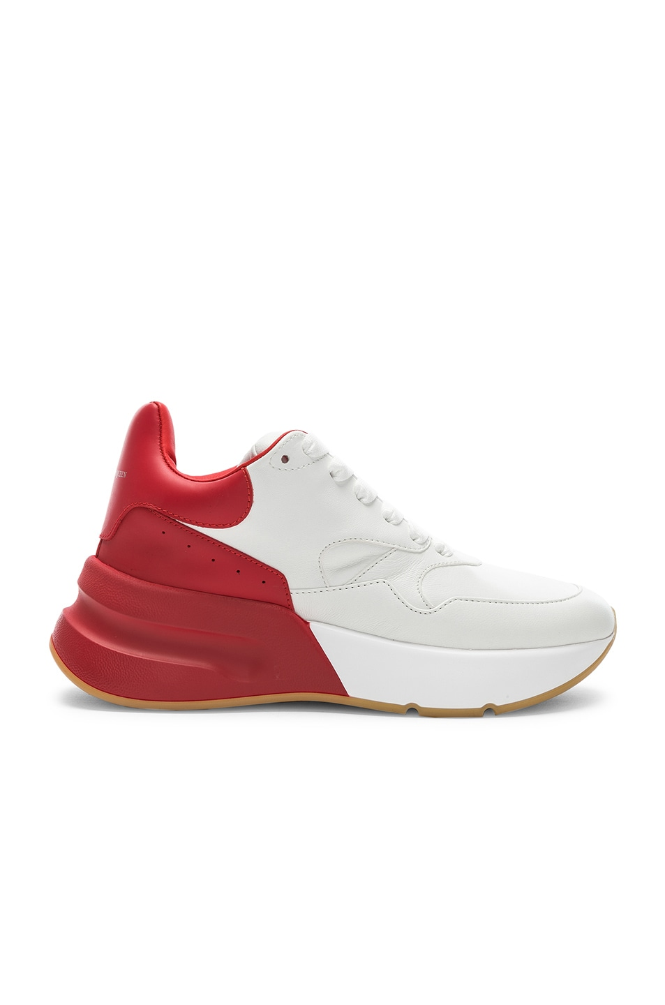 Image 1 of Alexander McQueen Two Tone Platform Sneakers in Optic White & Lust Red