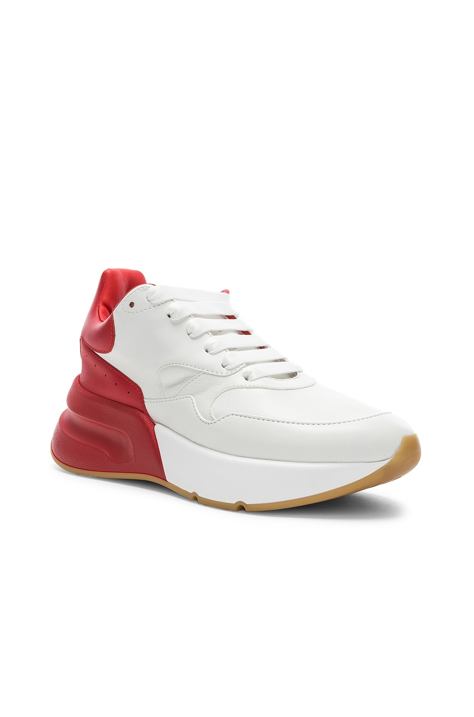 Image 2 of Alexander McQueen Two Tone Platform Sneakers in Optic White & Lust Red