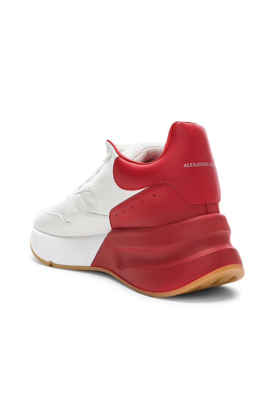 Image 3 of Alexander McQueen Two Tone Platform Sneakers in Optic White & Lust Red