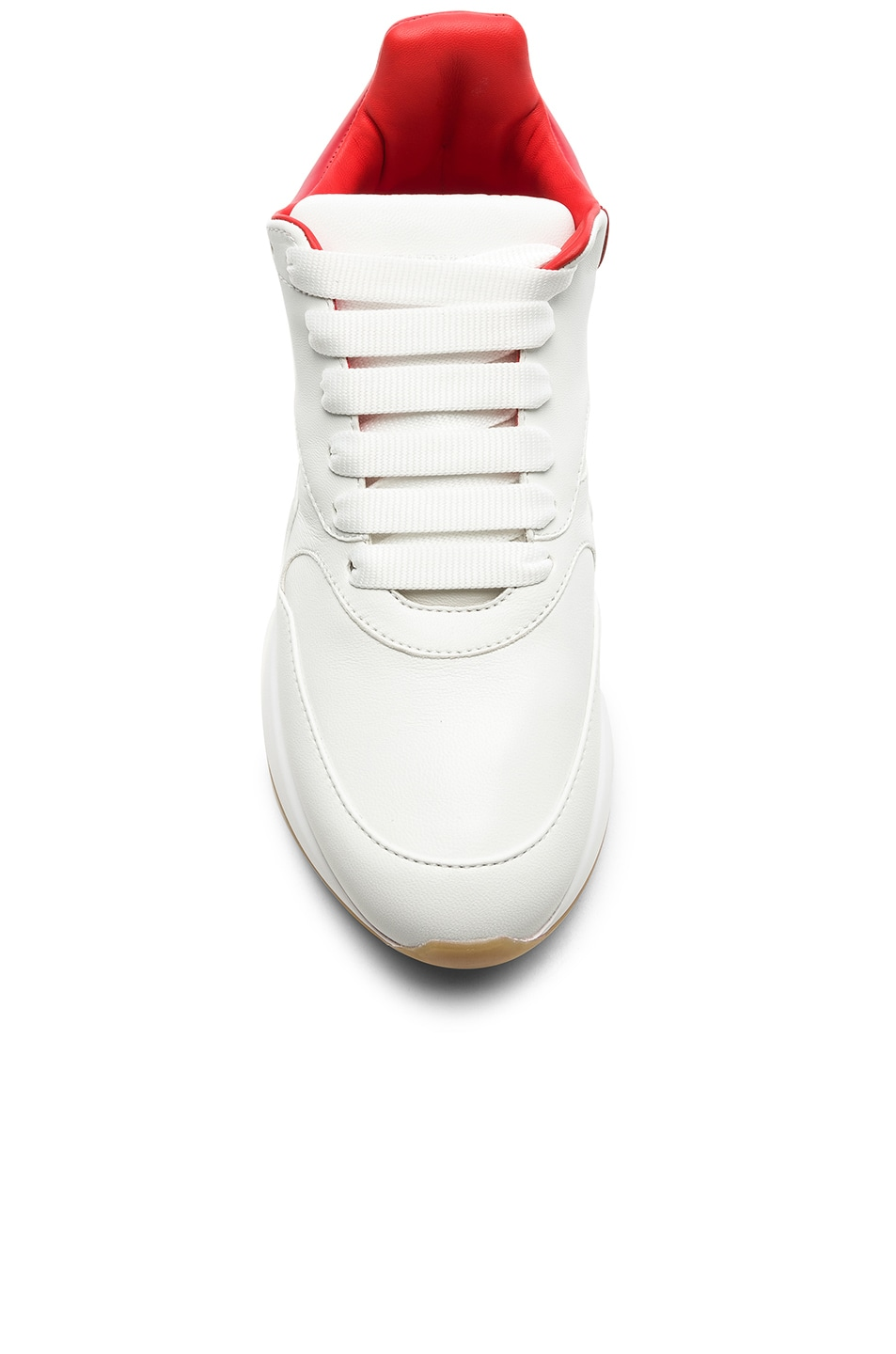 Image 4 of Alexander McQueen Two Tone Platform Sneakers in Optic White & Lust Red