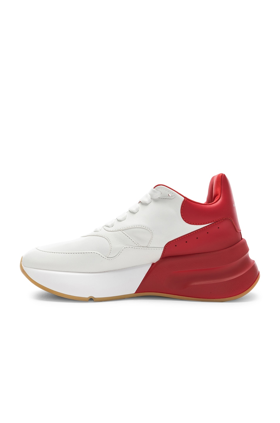 Image 5 of Alexander McQueen Two Tone Platform Sneakers in Optic White & Lust Red