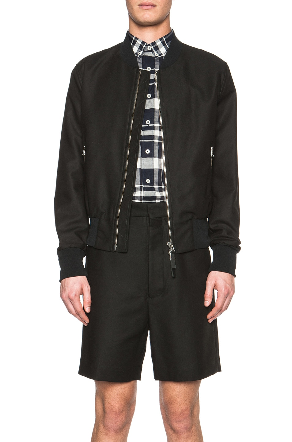 Image 1 of ami Striped Rib Zipped Cotton-Blend Jacket in Black