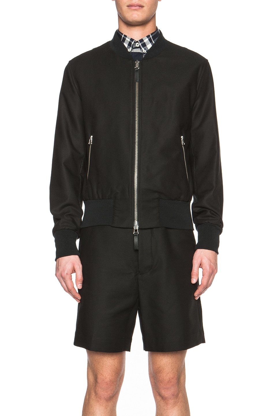 Image 2 of ami Striped Rib Zipped Cotton-Blend Jacket in Black