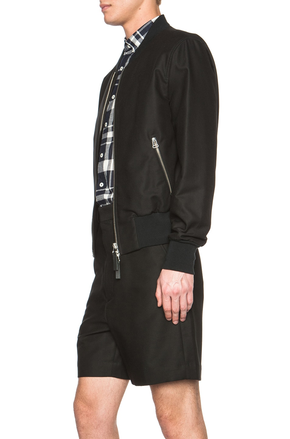 Image 4 of ami Striped Rib Zipped Cotton-Blend Jacket in Black