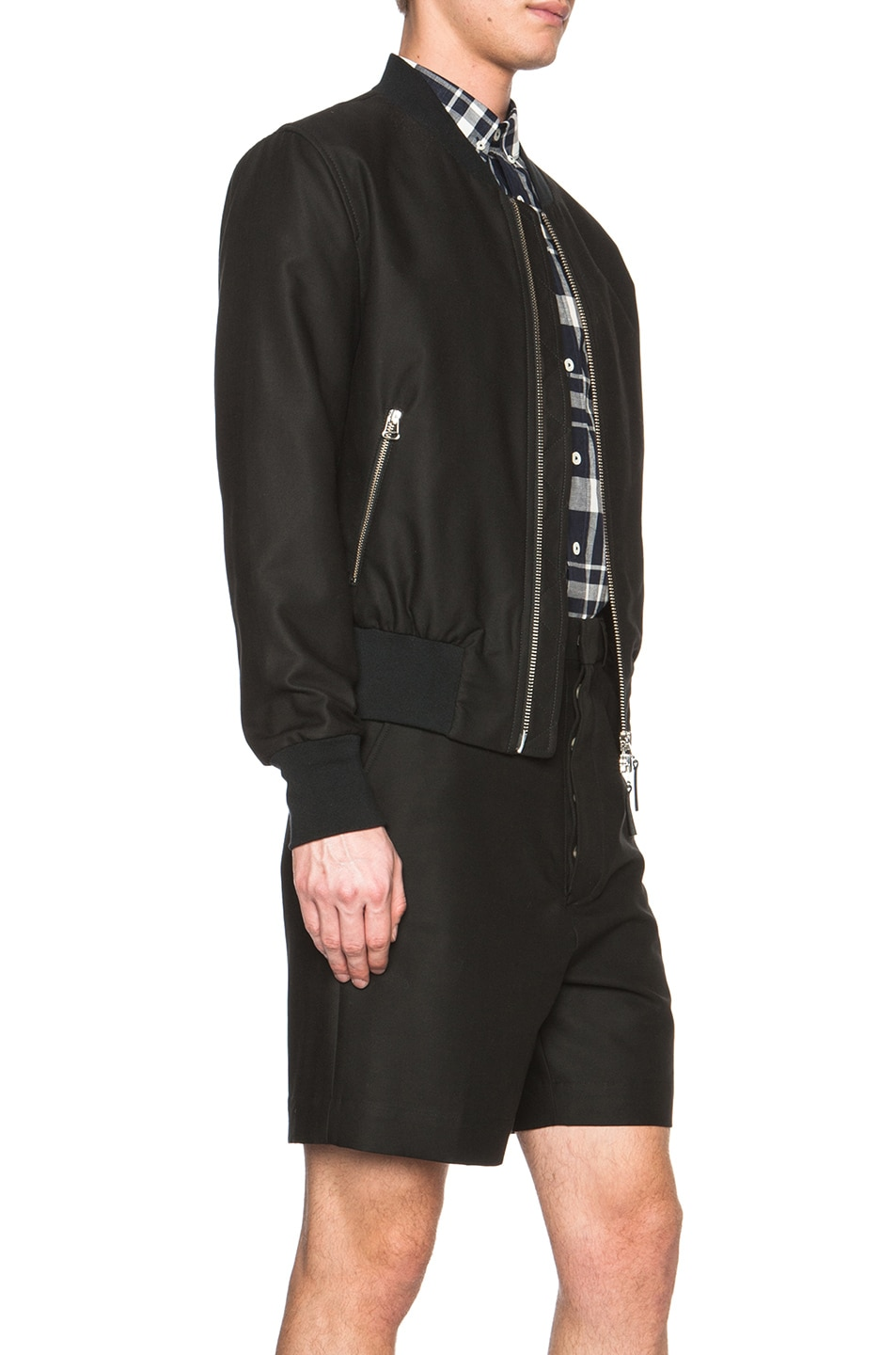 Image 5 of ami Striped Rib Zipped Cotton-Blend Jacket in Black