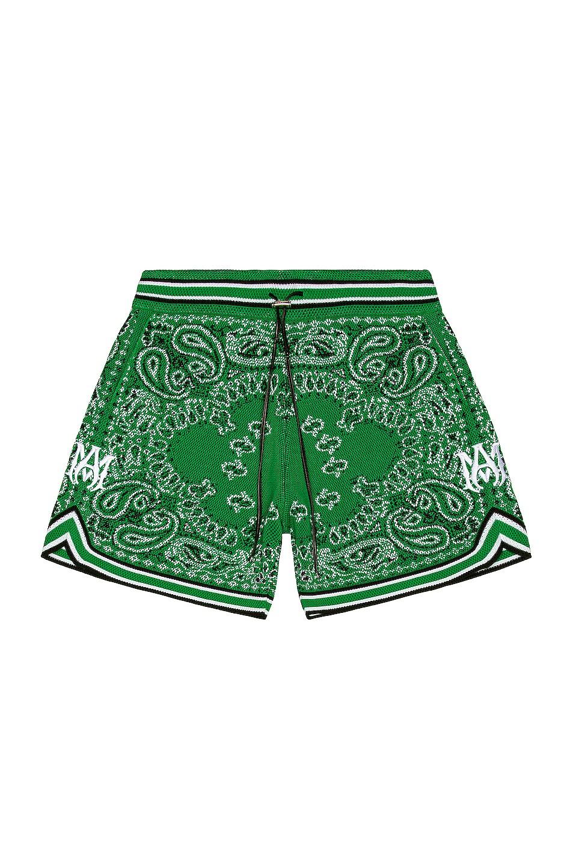Image 1 of Amiri Bandana Basketball Shorts in Tennis Green
