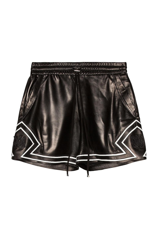 Image 1 of Amiri Drawstring Leather Boxing Short in Black