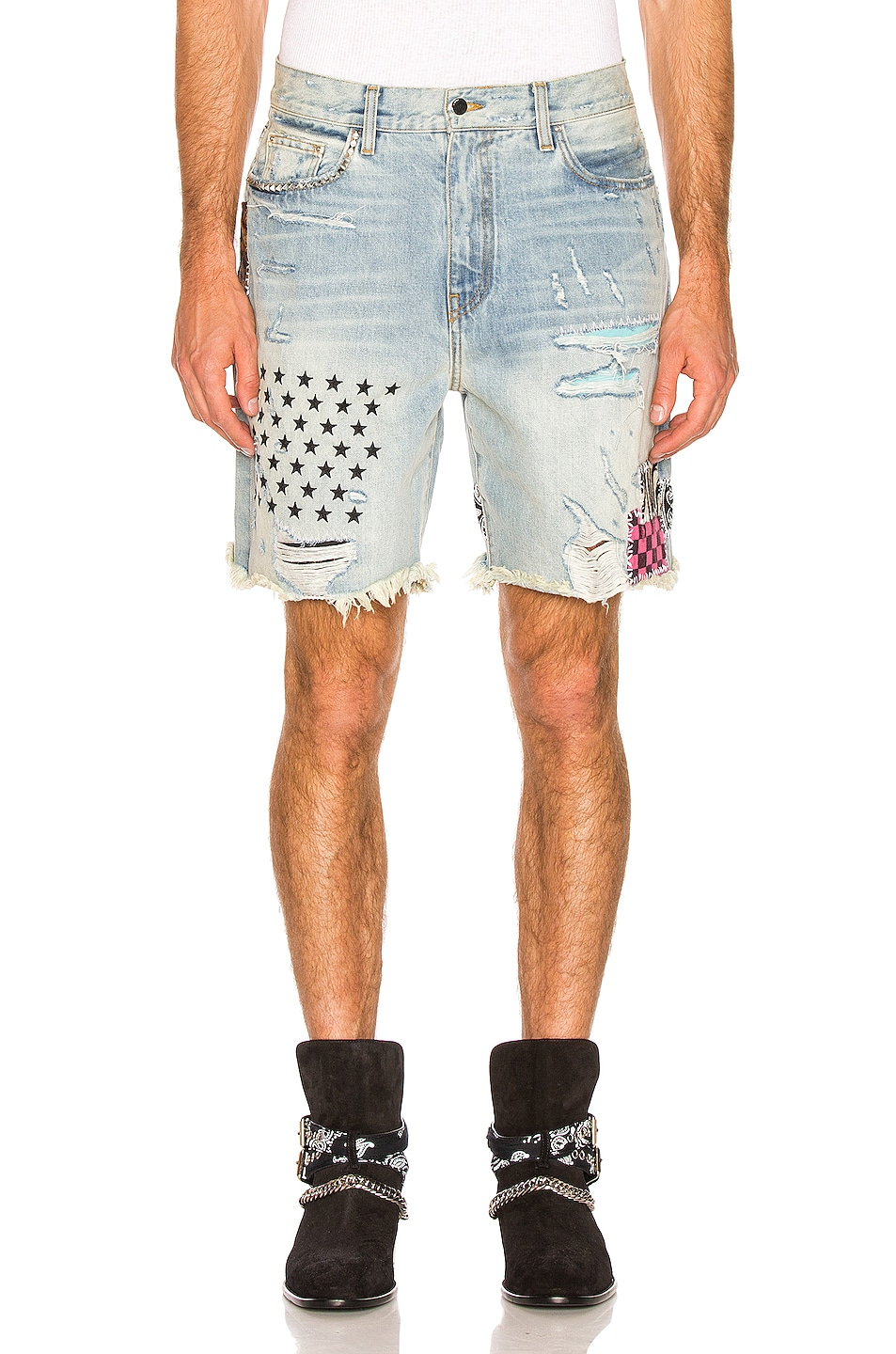 Image 1 of Amiri Art Patch Shorts in Vintage Indigo