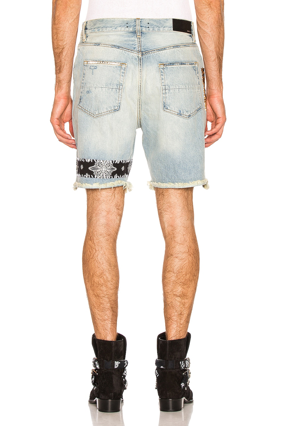 Image 4 of Amiri Art Patch Shorts in Vintage Indigo