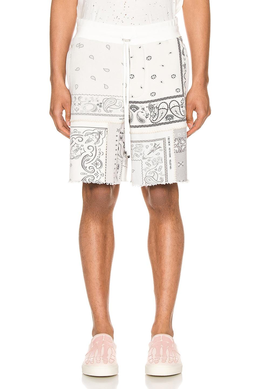 Image 1 of Amiri Bandana Reconstructed Shorts in Ivory