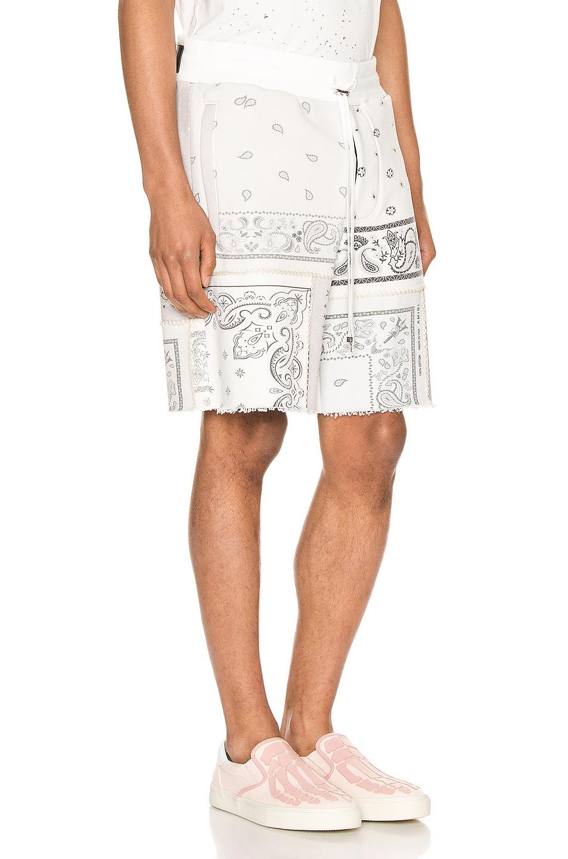 Image 2 of Amiri Bandana Reconstructed Shorts in Ivory
