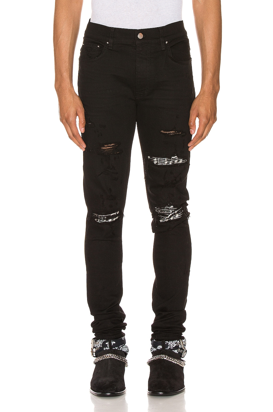 Image 1 of Amiri Music Note Patch Jean in Black