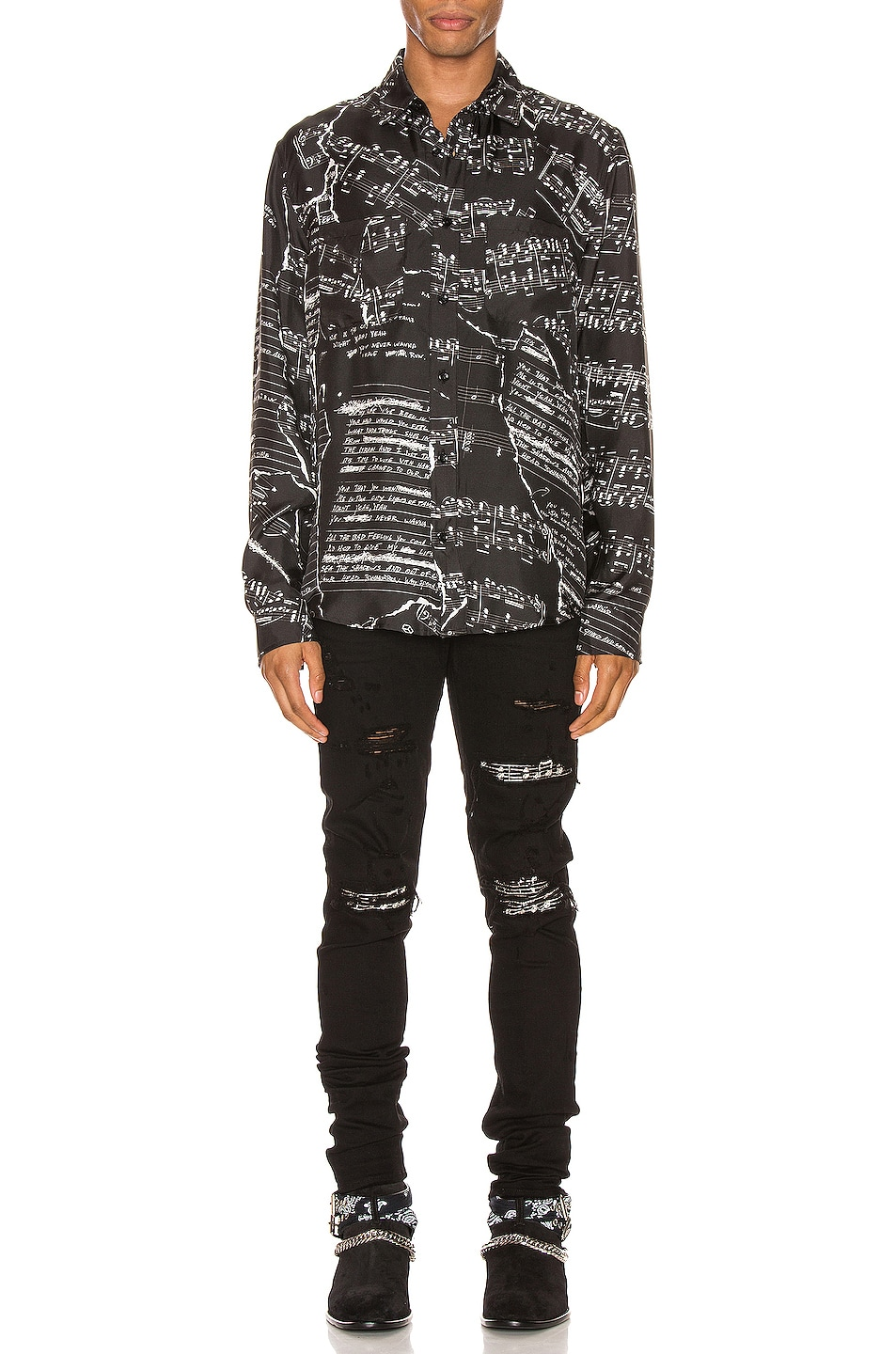 Image 4 of Amiri Music Note Patch Jean in Black