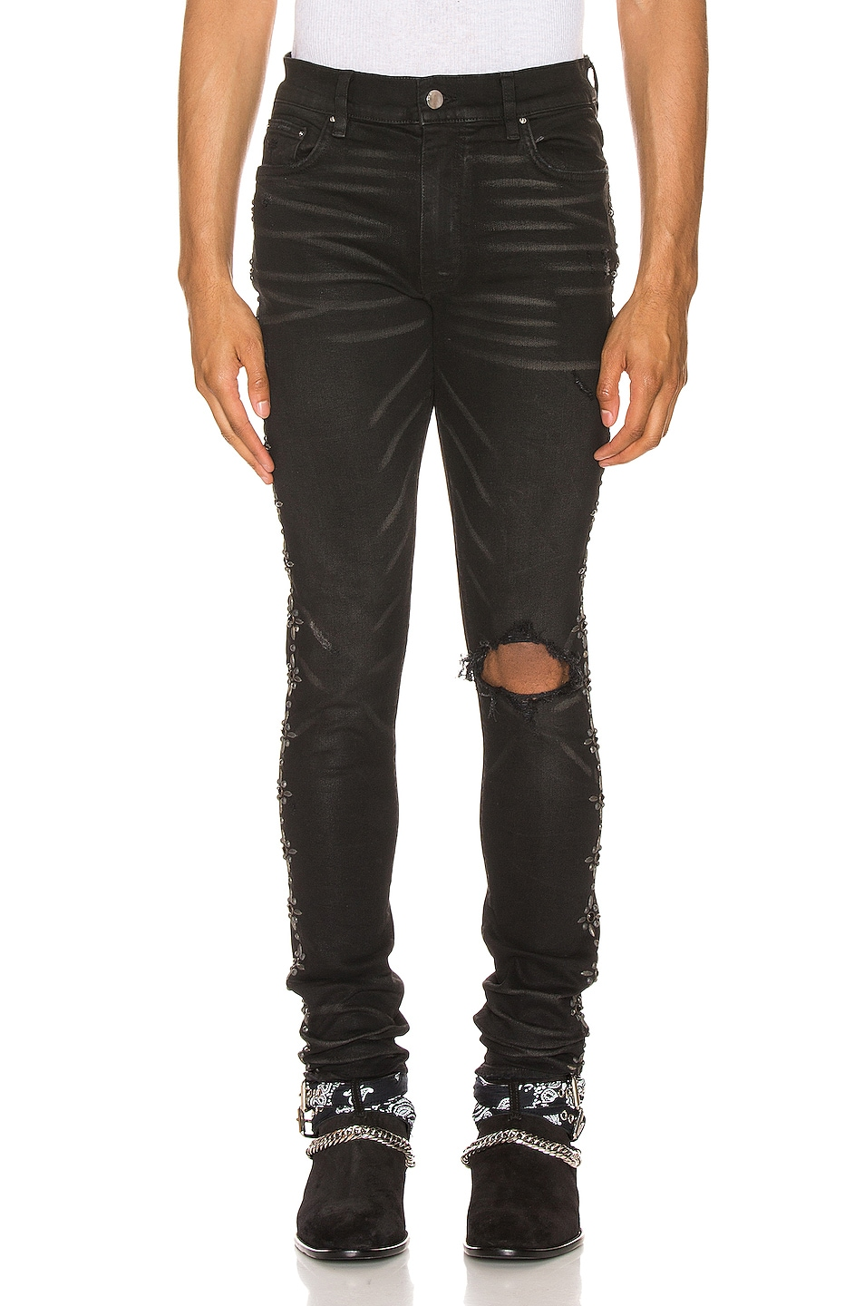 Image 2 of Amiri Side Studded Broken Jean in Rough Black