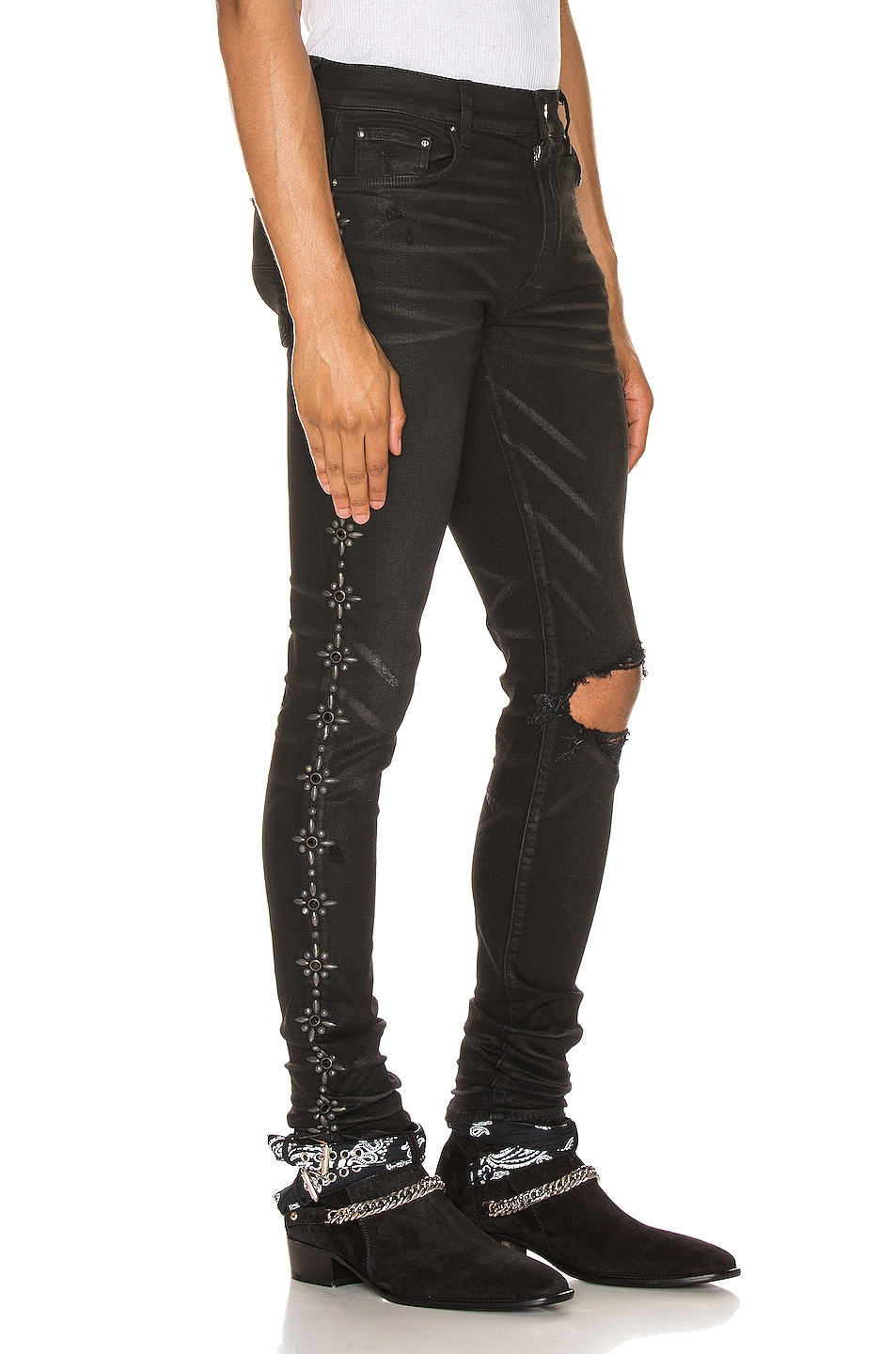Image 3 of Amiri Side Studded Broken Jean in Rough Black