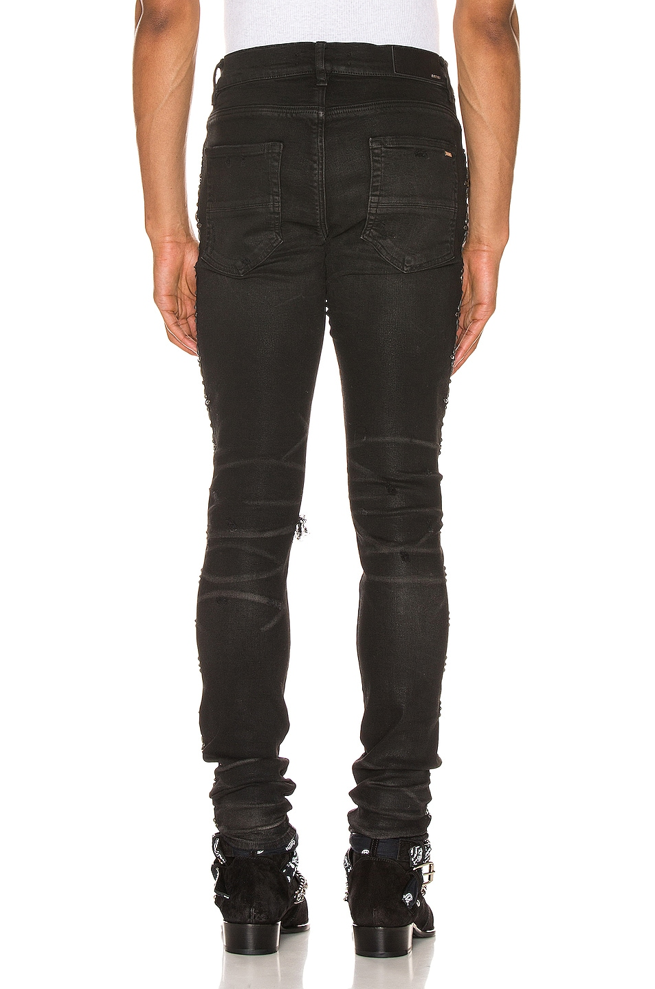 Image 4 of Amiri Side Studded Broken Jean in Rough Black